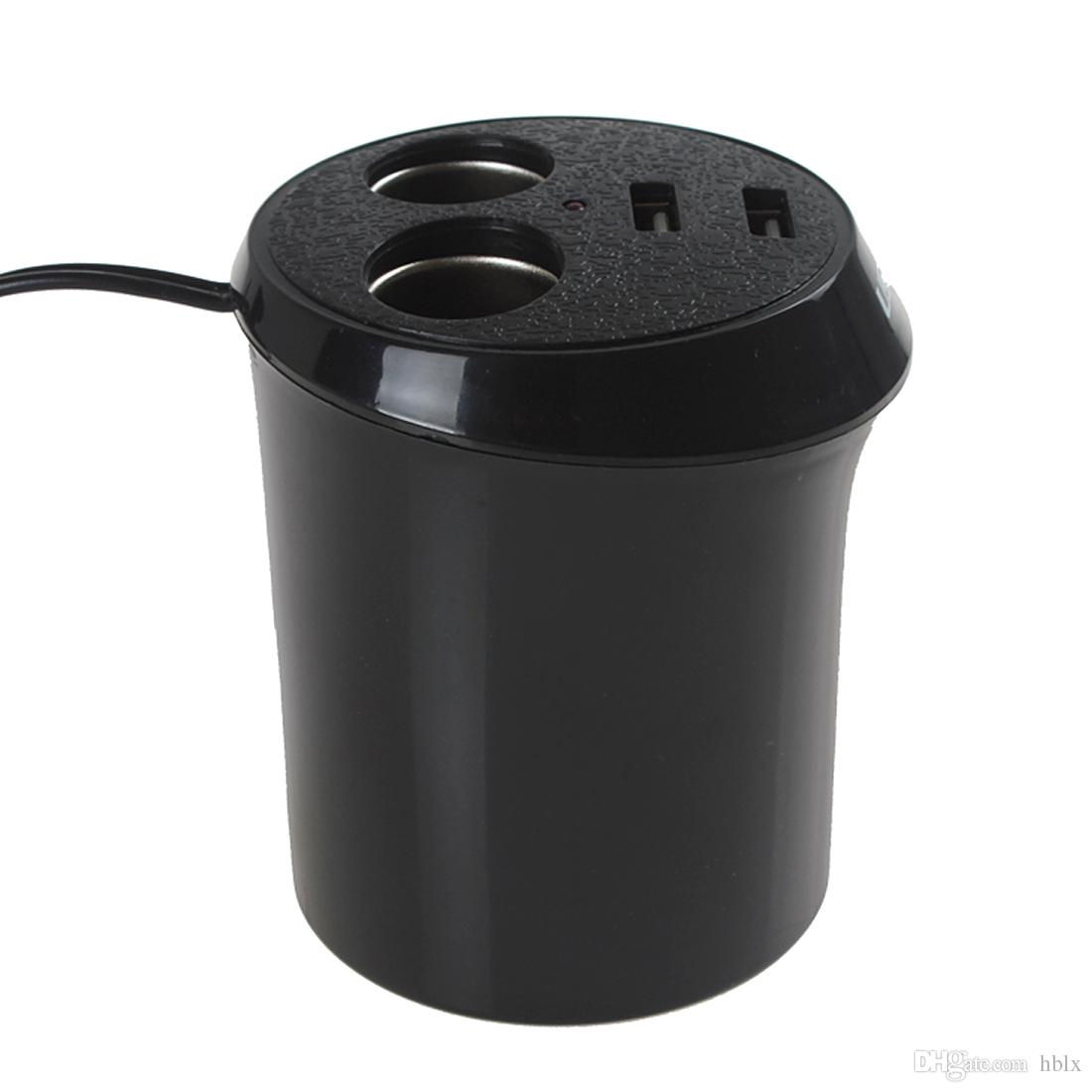 Universal Black Dual 12V USB Port 2 Sockets Car Cigarette Lighter Charger Power Adapter Splitter CEC_619