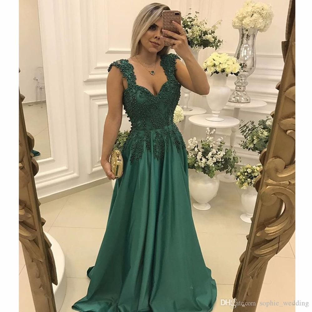 Best Selling 2017 Prom Dresses Dark Green Sweetheart Appliqued Lace ...