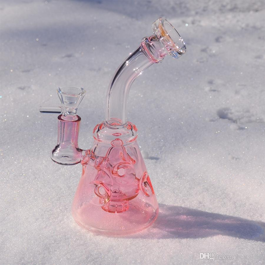 Perfect Golden Fuming Glass Bong Smoking Water Pipe Beaker Bongs cañerías de agua con tazón de 14.5 mm Venta limitada G45
