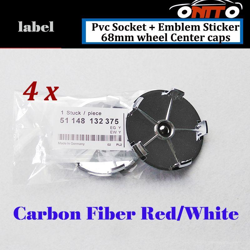 68mm Label Car Wheel Hub Emblem Cover Carbon Fiber Red white Good Quality PVC Auto Wheel Center Logo Cap Badge
