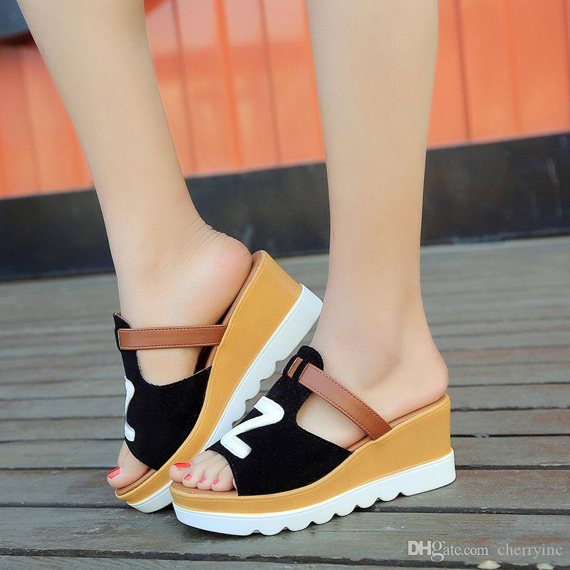 0e834d7243753f Female Slippers Step Ins Sandals Slope With Thick Crust Muffin Bottom With Waterproof  Women Slippers Fish Head Women Casual Shoes SL240 Boys Slippers Acorn ...