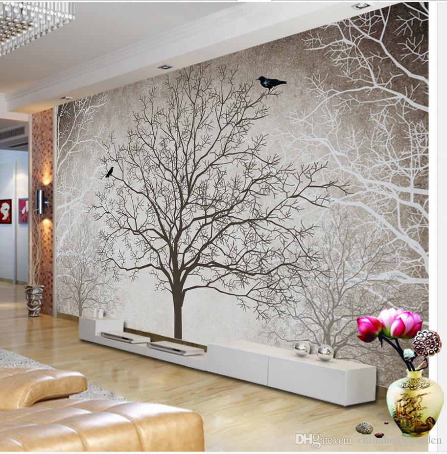 Fashion customized hd retro black and white tree tv wall for Black tree mural