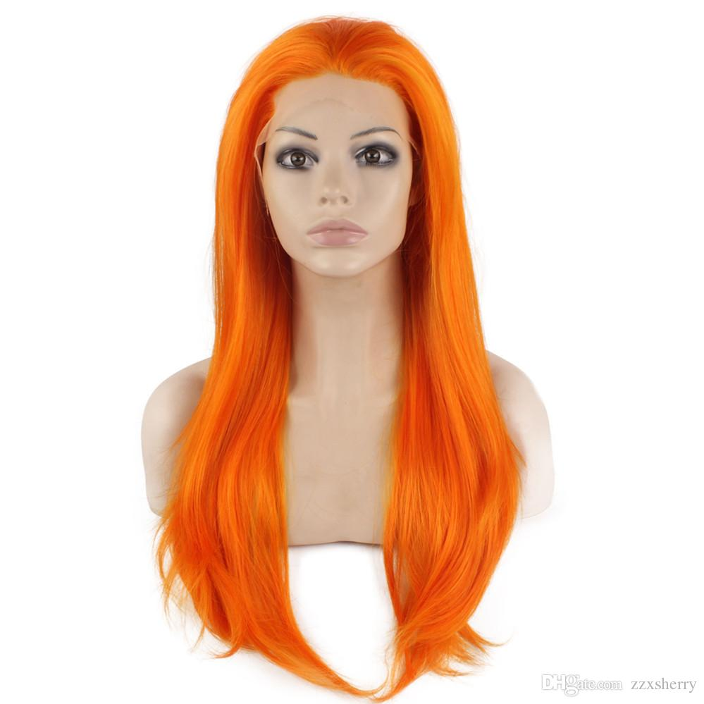 """24"""" Long Orange Silky Straight Half Hand Tied Heat Resistant Synthetic Fiber Lace Front Fashion Cosplay Party Wig S02"""