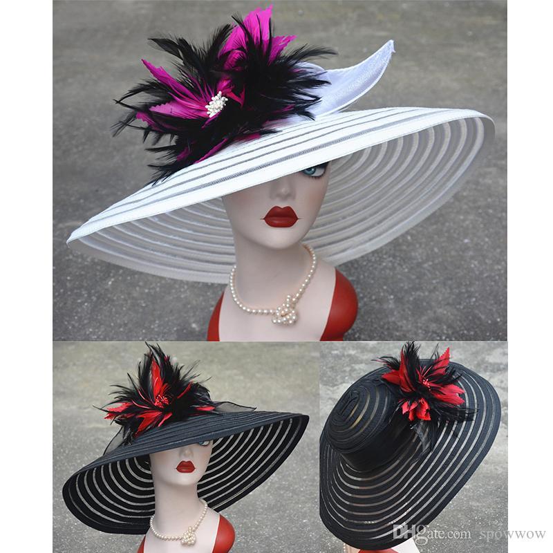 a9c892439a076 Womens Stylish Feather Flower Kentucky Derby Wide Brim Stripe Floppy Sun  Church Dress Party Hat A350