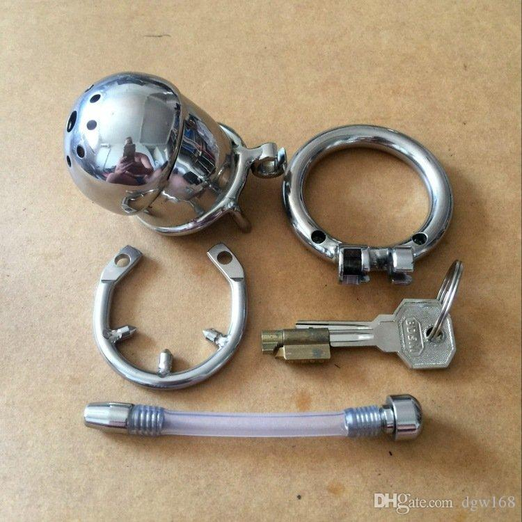 New Male Stainless Steel Chastity Device BDSM toy Cock Cage With Catheter,Penis Lock Cock Ring Chastity Belt,cheap urethral sound dilator
