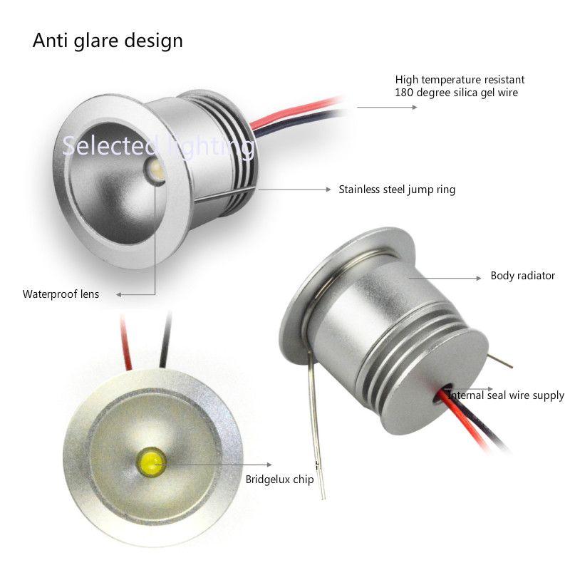 Impermeable IP65 Mini Led Downlight 1 W Lámparas Subterráneas DC12V Recorte 25mm Spot light para Joyería Escaparate Iluminación
