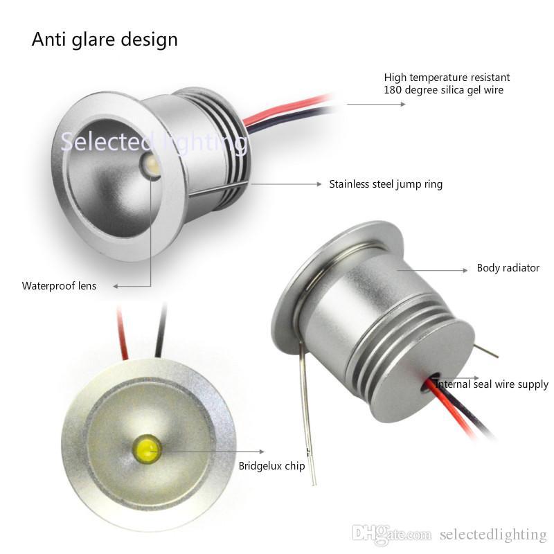 Wasserdichte IP65 Mini LED Downlight 1W U-Lampen DC12V Ausschnitt 25mm Spot Licht für Schmuck Showcase Beleuchtung