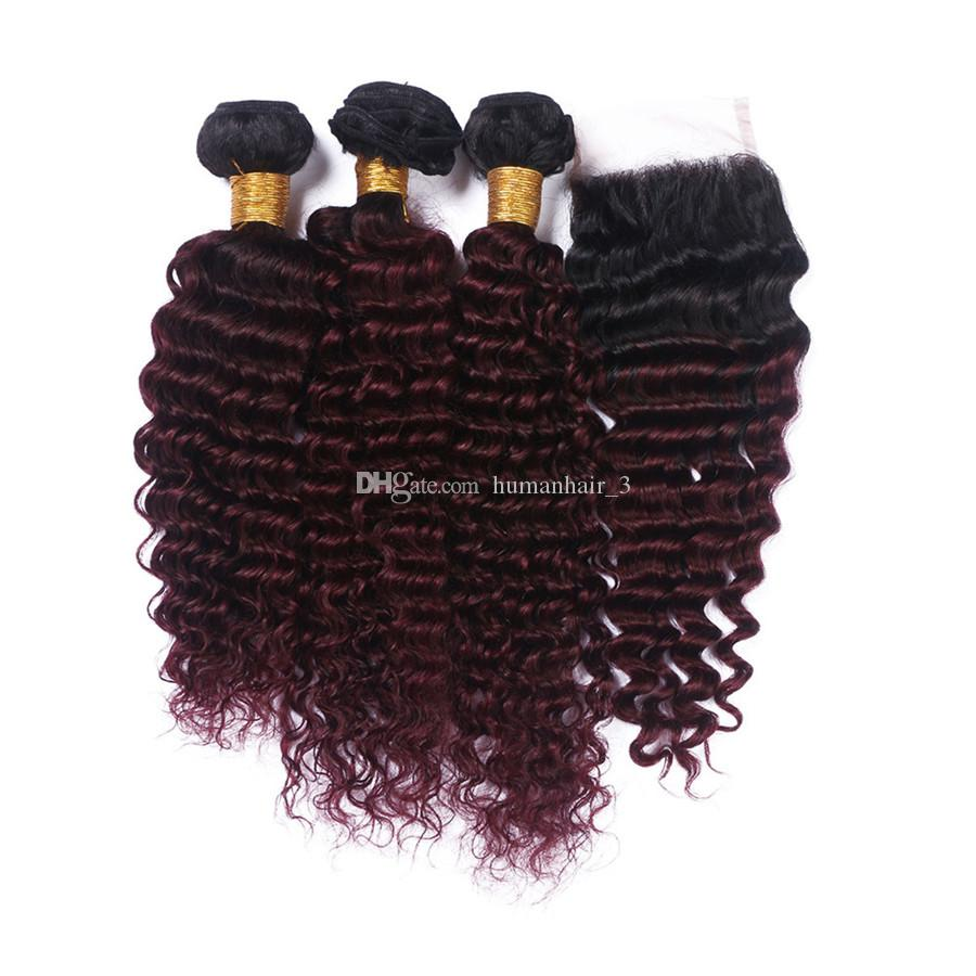 Dark Roots Ombre 1b 99j Deep Wave Hair Bundles With Lace Closure Indian Human Burgundy Ombre Deep Curly Hair With Lace Top Closure