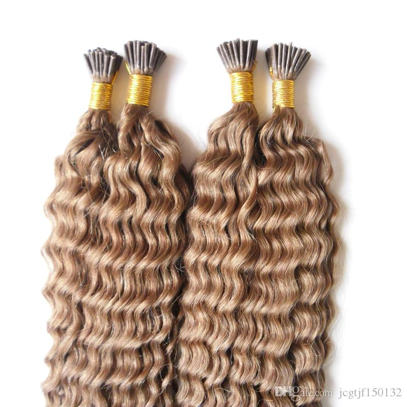 # 6 Extension de cheveux à la kératine brune moyenne 200g / brins extensions de cheveux de fusion frisés I Extensions de Astuces 200s Capsules pour cheveux bouclés profonds