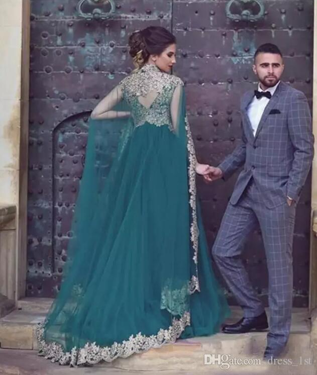 Gorgeous 2018 Teal Tulle Arabic Dresses Evening Wear With Pretty Lace Appliques High Collar Wraps Formal Gowns Custom Made EN10078