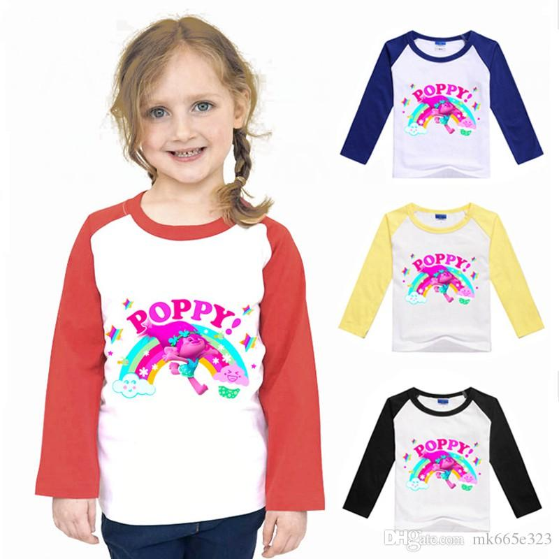 2017 Kids Summer T Shirt The Good Luck Trolls Long Sleeve Tshirt ...