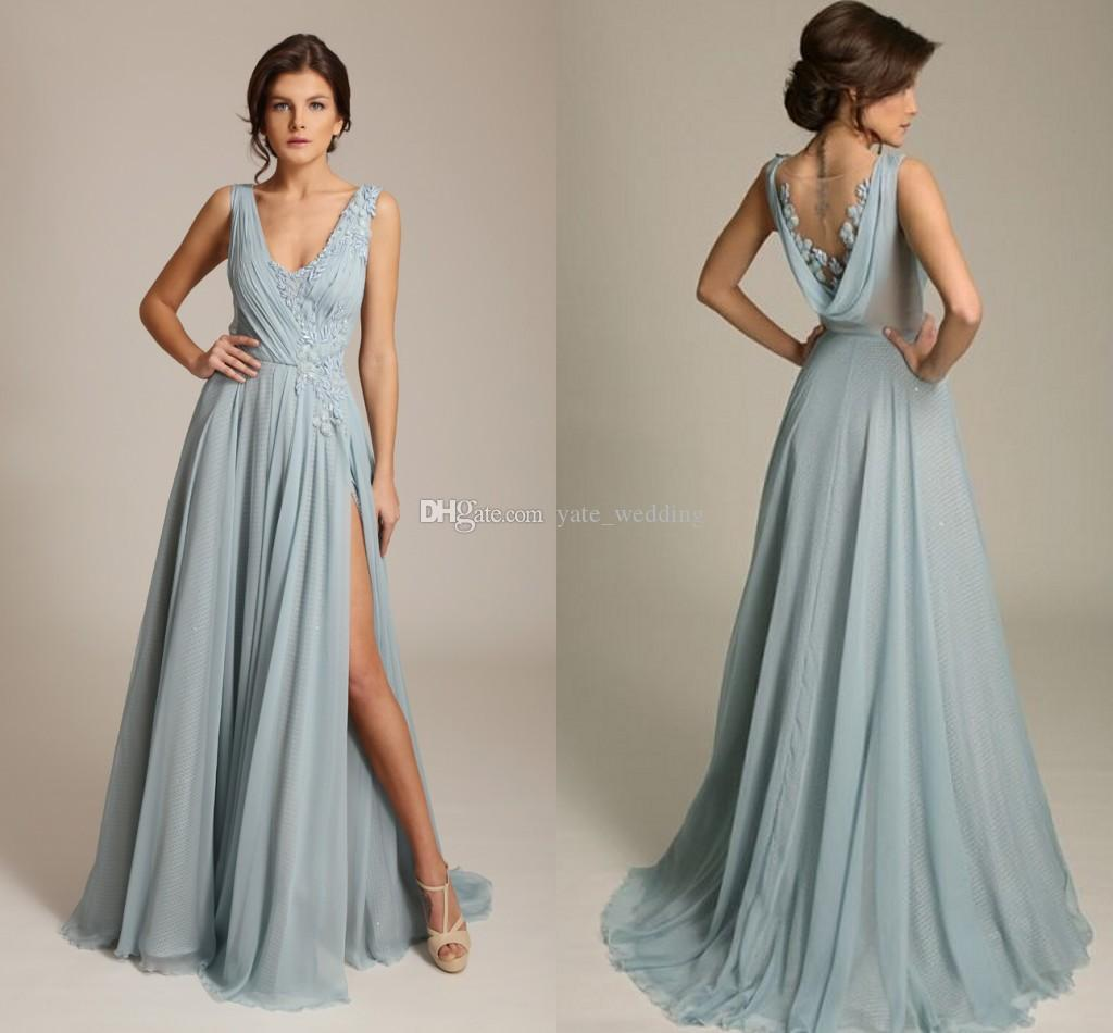 d26666e7f632 Gorgoues Dusty Blue Evening Dresses V Neck Sleeveless Appliques Chiffon  Draped Back High Split Sexy Formal Evening Gowns Sweep Train Evening  Dresses Formal ...