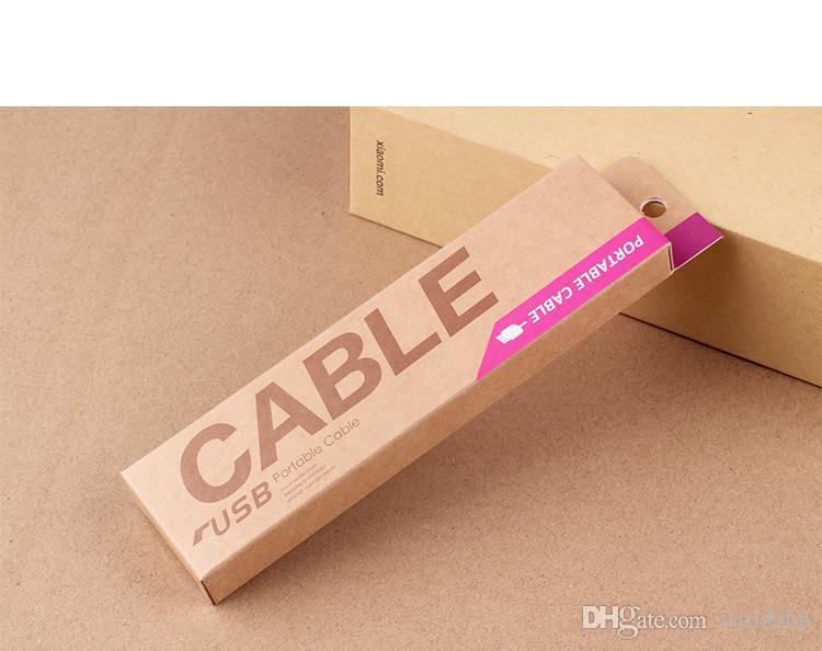 153 * 40 * 15mm Kraft Craft Paper Retail Packaging Bag Pakketbox voor Samsung Galaxy S4 Note 3 iPhone 4 5 S 6 1 M USB Oplaadkabel DHL