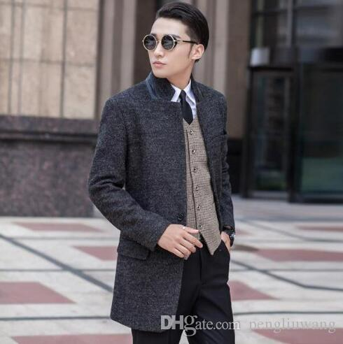 2017 Grey Casual Single Breasted Wool Coat Men Suits 2017 Trench ...