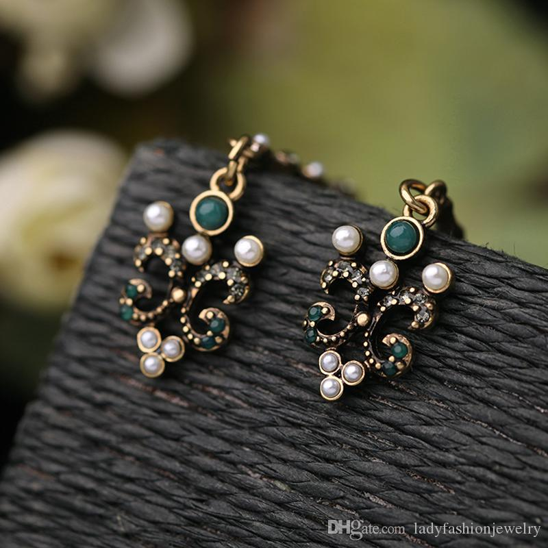 Fashion Wholesale Accessories Vintage Antique Bronze Alloy Rhinestone Pearl Flower Long Dangle Chandelier Earrings Aretes Jewelry