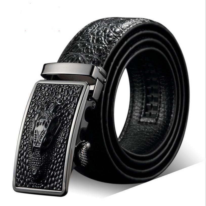 Neue Mode neue automatische Gürtelschnalle Gürtel J Verkauf Männer Leder Krokodil männlichen Gürtel Größe 110-125mm