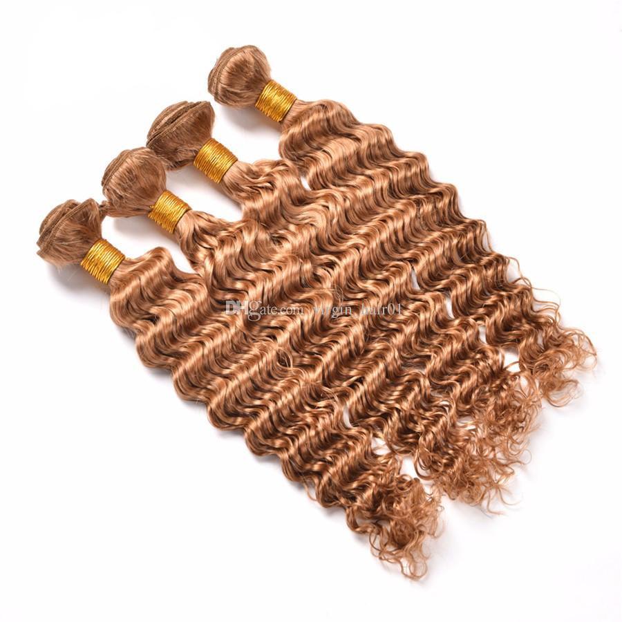 Brazilian Human Virgin Hair Deep Wave Hair Bundles #27 Pure Color Honey Blonde Deep Curly Weave Hair Extensions For Black Woman