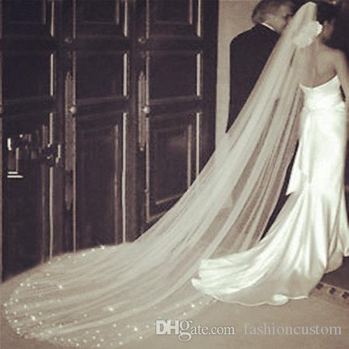 New Arrival Rinestone 3M Wedding Veil Crystal Cathedral Length Bridal Veils white ivory with comb one layer