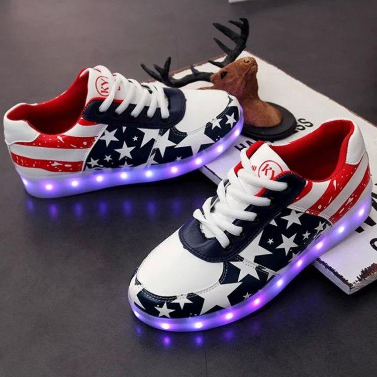 the latest 08422 a5511 34-44 led leuchten Schuhe für Frauen USA Unabhängigkeitstag blau weiß  schwarz Verkauf Männer blinkenden Turnschuh Kind Design Trainer beleuchtet