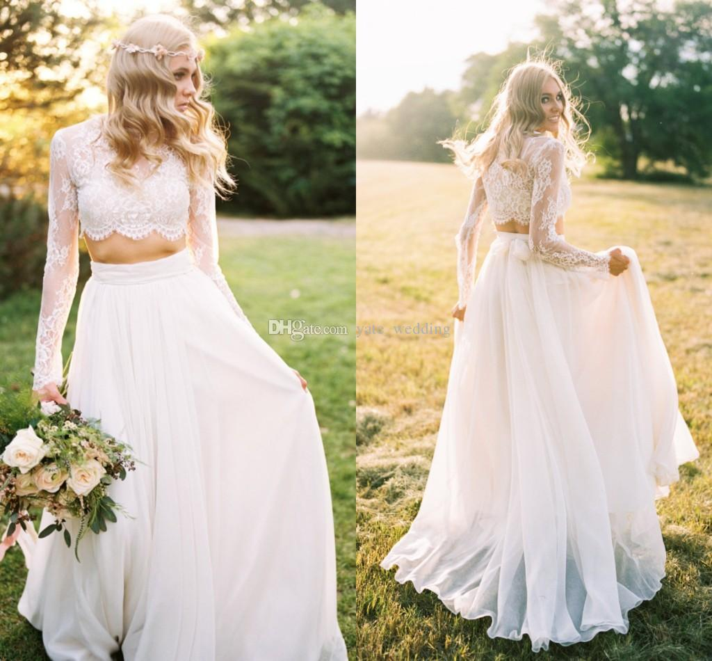 Discount 2018 Summer Two Piece Wedding Dresses Long Sleeves Lace ...