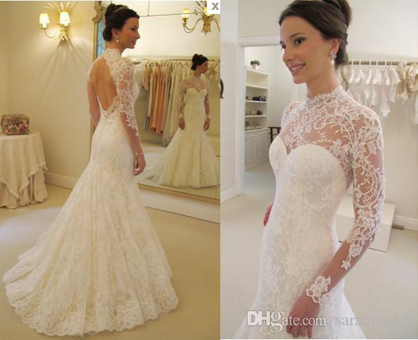 2019 new high neck mermaid Sheath modest backless victorian wedding dresses long sleeves full lace 12y country wedding dresses from china