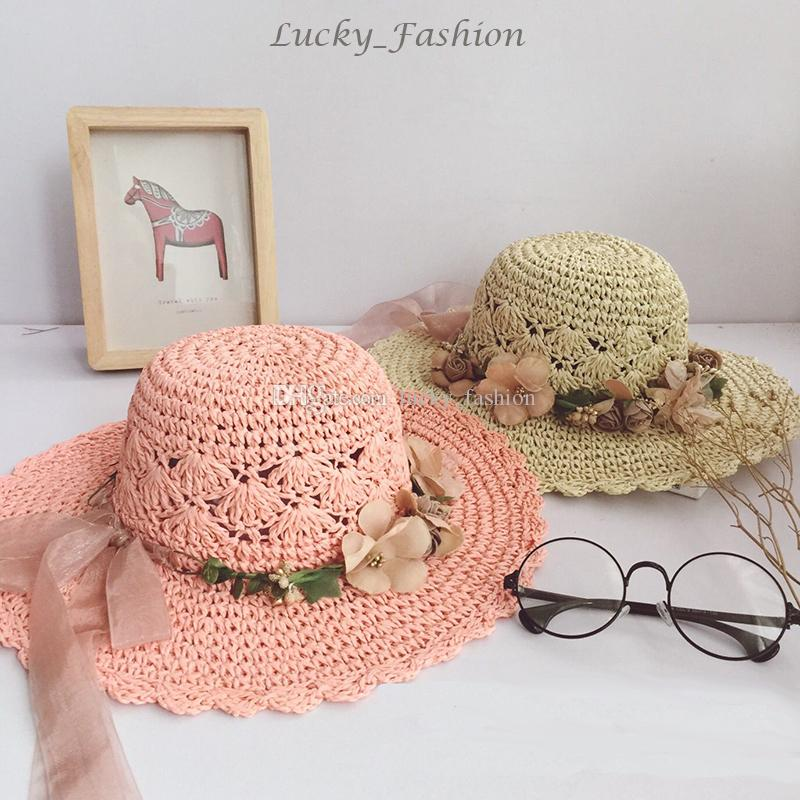 New Fashion Girl Flower Straw Wide Brim Caps Girls Summer Beach Sun Hat Cute Baby Flowers Fedora Soft Handmade Hats Kids Straw Cap