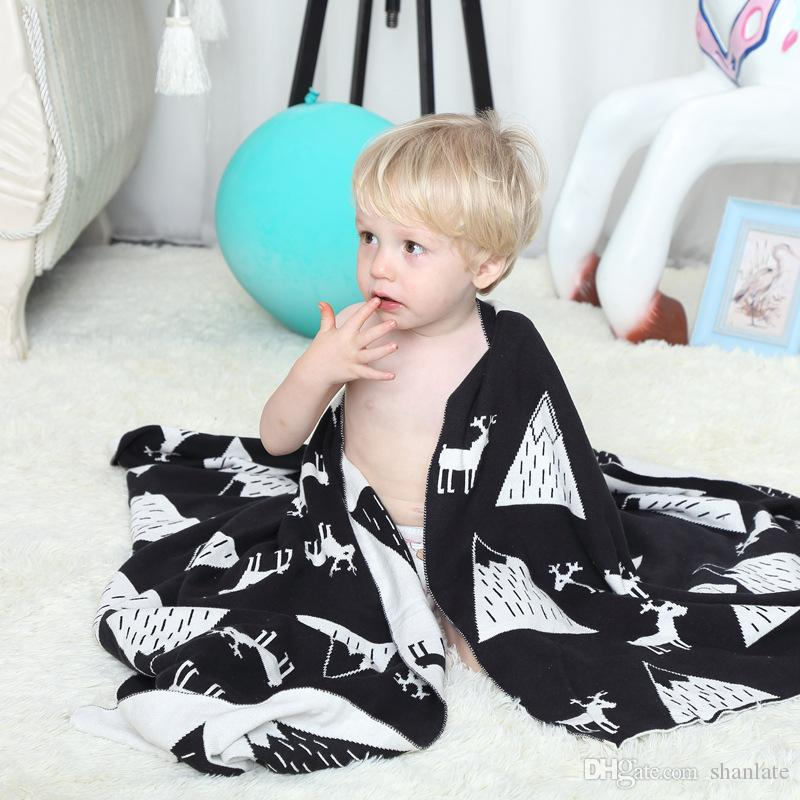 Free shipping novelty gift Multi-purposed snow mountains deer pattern soft  Reversible Knitted Baby Kids Throw Blanket wrap Photography Props