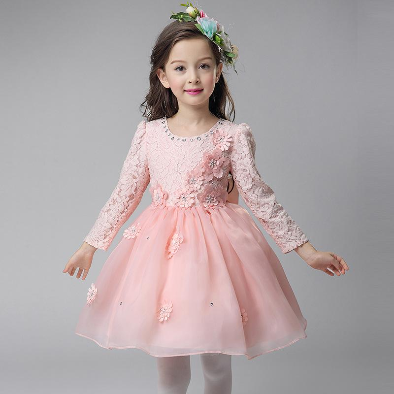 A-line Short/Mini Satin/Tulle Long Sleeves Boat Neck Cheap White Flower Girl Dresses with Lace/Crystal Detailing