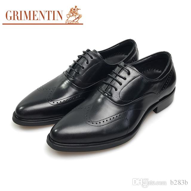 Grimentin Brand Uk Designer Men Oxfords Shoes Genuine Leather Black