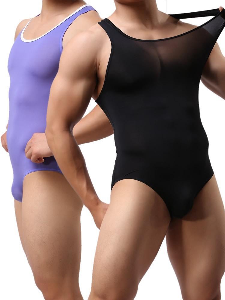 i uomini sexy senza maniche Body elastico maschile shapewear di un pezzo morbido intimo SINGLET Bodywear costume da bagno