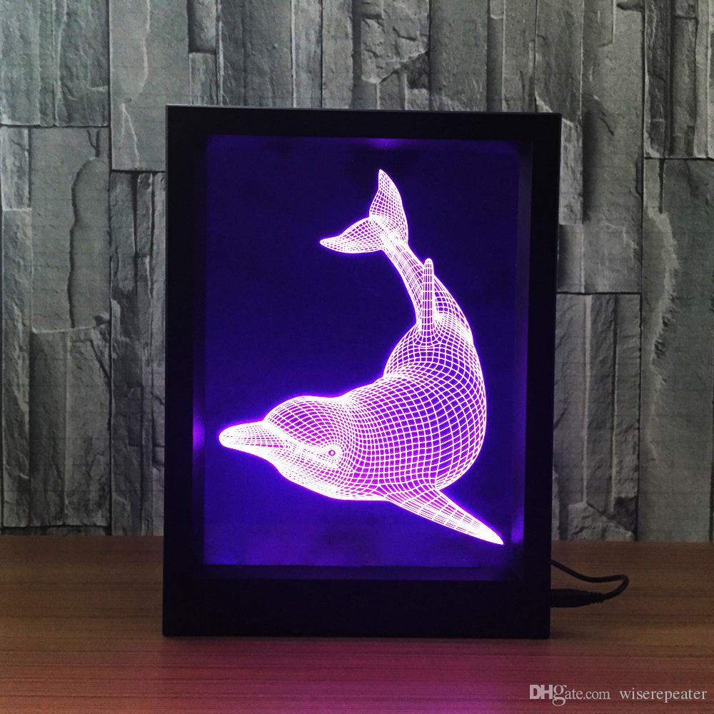 3D Dolphin LED Photo Frame Decoration Lamp IR Remote 7 RGB Lights DC 5V Factory Wholesale Drop Shipping