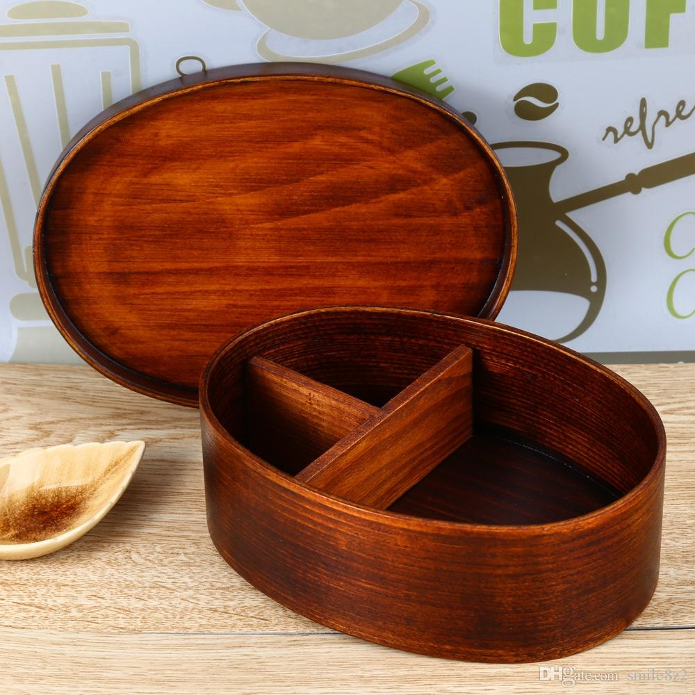 Japanese Style Wooden Lunch Box Natural Wood Tableware Bowl For Sushi Meal  With Internal Separator For Picnic Working Lunch +B Camping Tools Camping  ... Good Looking
