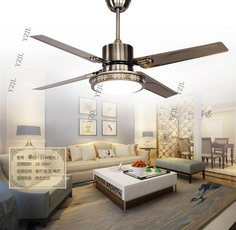 48inch remote control Ceiling fan lights LED bedroom ceiling lamp fan light minimalism modern ceiling fan stainless steel blades