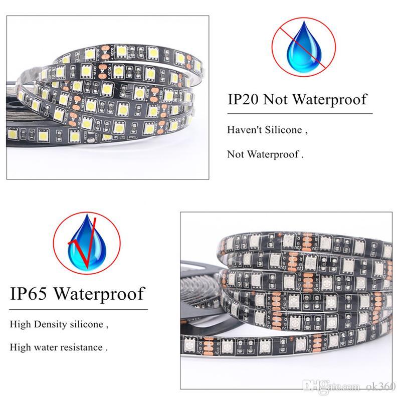 Siyah PCB LED Şerit 5050 RGB IP65 su geçirmez DC12V 5m Led Şerit Esnek Işık IP65 Su geçirmez Ev Dize 300led
