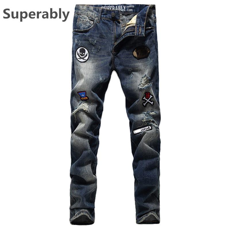 Wholesale- Mens Slim Fit Dry Denim Blue Jeans Brand Superably Jeans Ripped  Trousers Printed Skull 69 Motorcycle Jeans Men Pants UK380 Pants Football  Pants ...