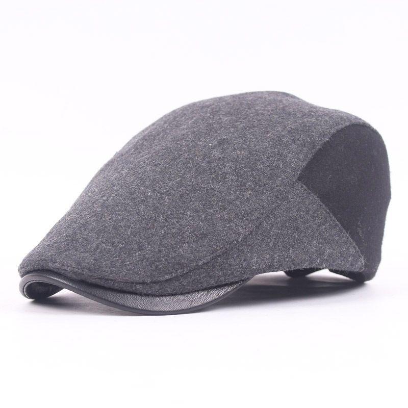 Wholesale Woolen Leather Visor Hat Beret Men S Hats Forward Autumn And  Winter Outdoor Tourism Hat Elderly British Retro Wild Cap Fishing UK 2019  From Juaner ... ecb7e19d874