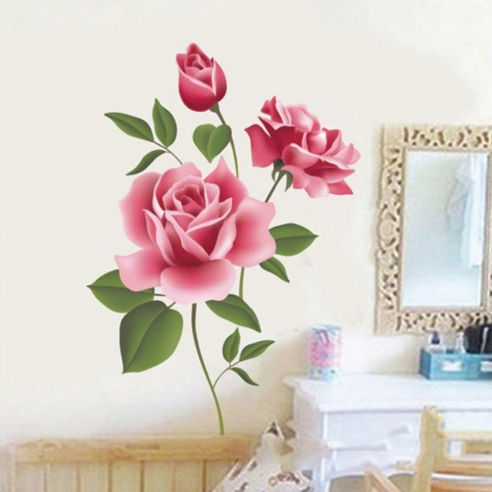 Romantic Love 3D Rose Flower Wall Sticker TV Sofa Decor Living Room Bedroom flower Wall Decals Mother's Valentine's Day gift