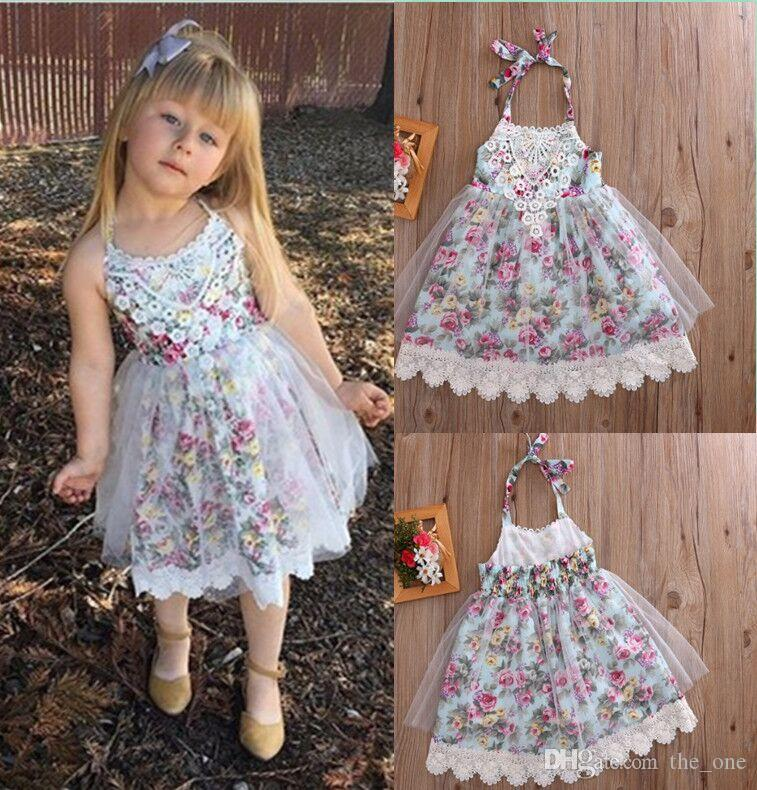 Girl Dress Summer New Lace Floral Baby Girl Dress Princess TuTu Dress Infant Halter Dresses Kids Clothing free fast shipping