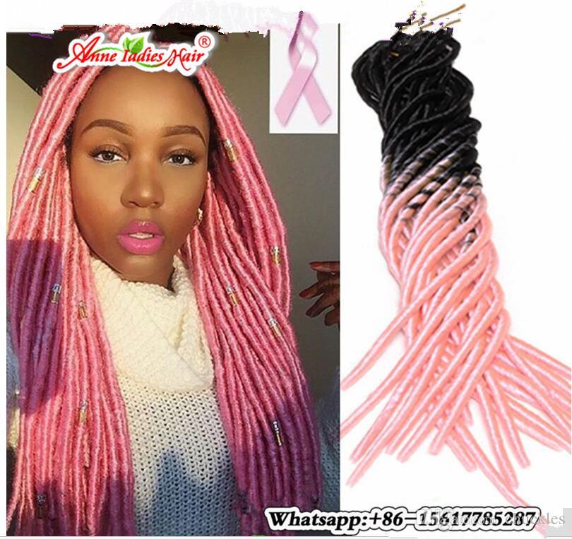 Ombre Crochet Braids Ombre Pink Afro Faux Locs Braid Hair Dreadlocks