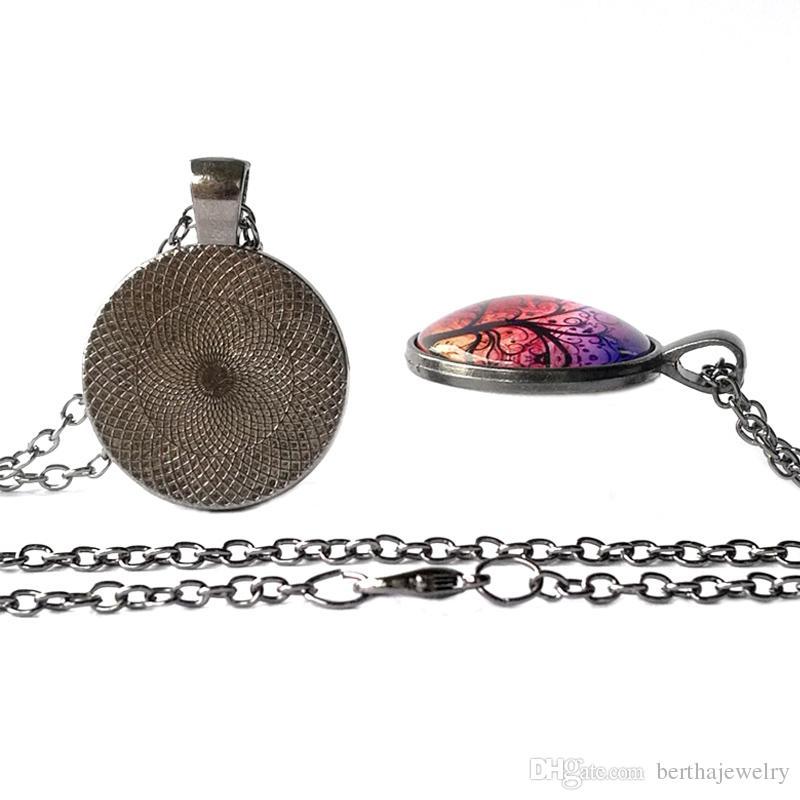 purple Loong Cat eye Evil Eye Jewelry Glass Cabochon Round Retro fashion Gun black Pendant Gifts for Women Men Girls Chain Sweater Necklace