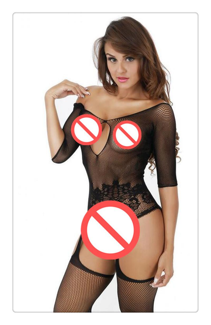2402665581 DHL Sexy Lingerie Sexy Underwear Women Sexy Costumes Hot Jacquard Fishnet  Stockings Leotard Open Files Netting Mesh30 Matching Bras And Panties White  ...