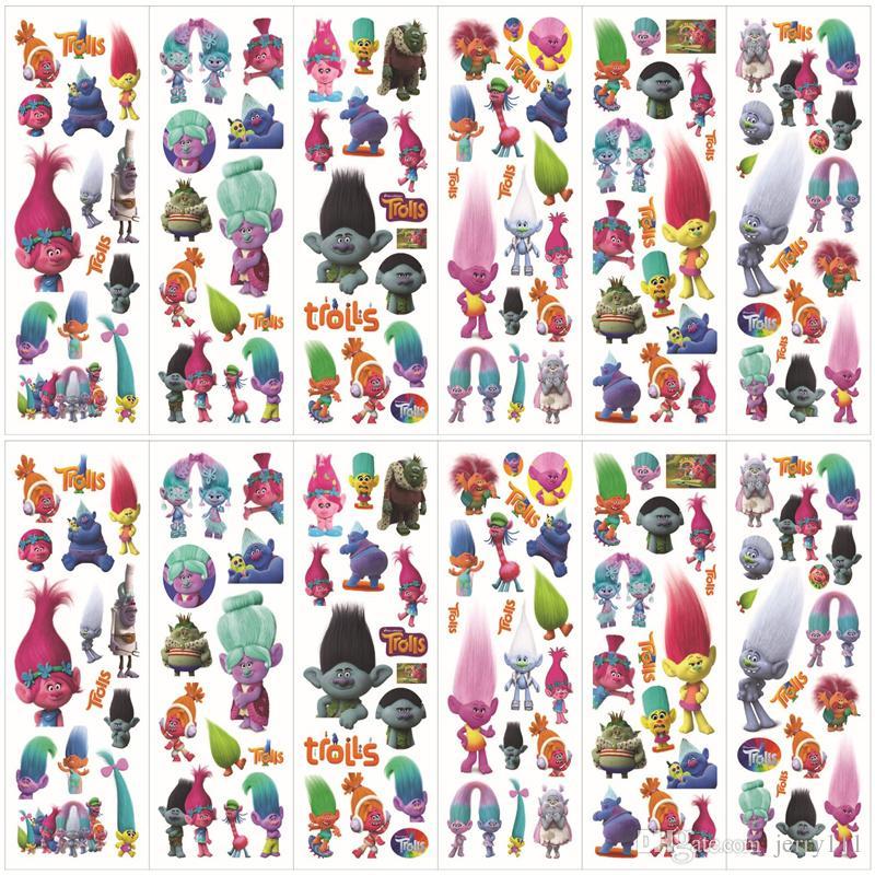 Troll Poppy Sticker 3D Cartoon Pattern Bambini Scuola Ricompensa Adesivi murali scrivania Scrapbook Giocattoli bambini Adesivi bambini Giocattoli regalo LC447-2