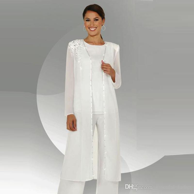 White Chiffon Mother Of Bride Pant Suit Long Sleeve Jacket ...