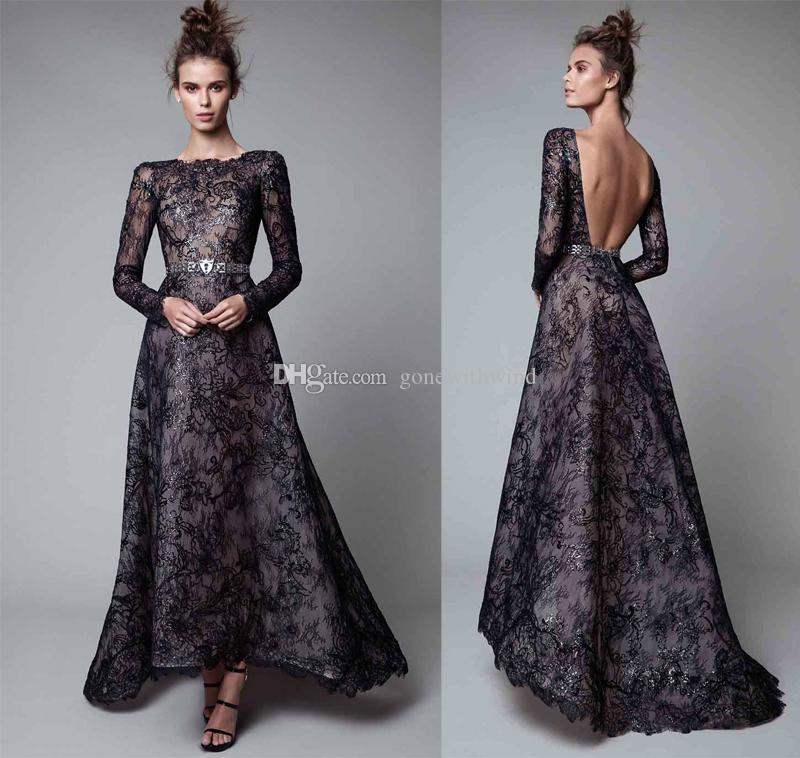 Black lace sleeved evening dress