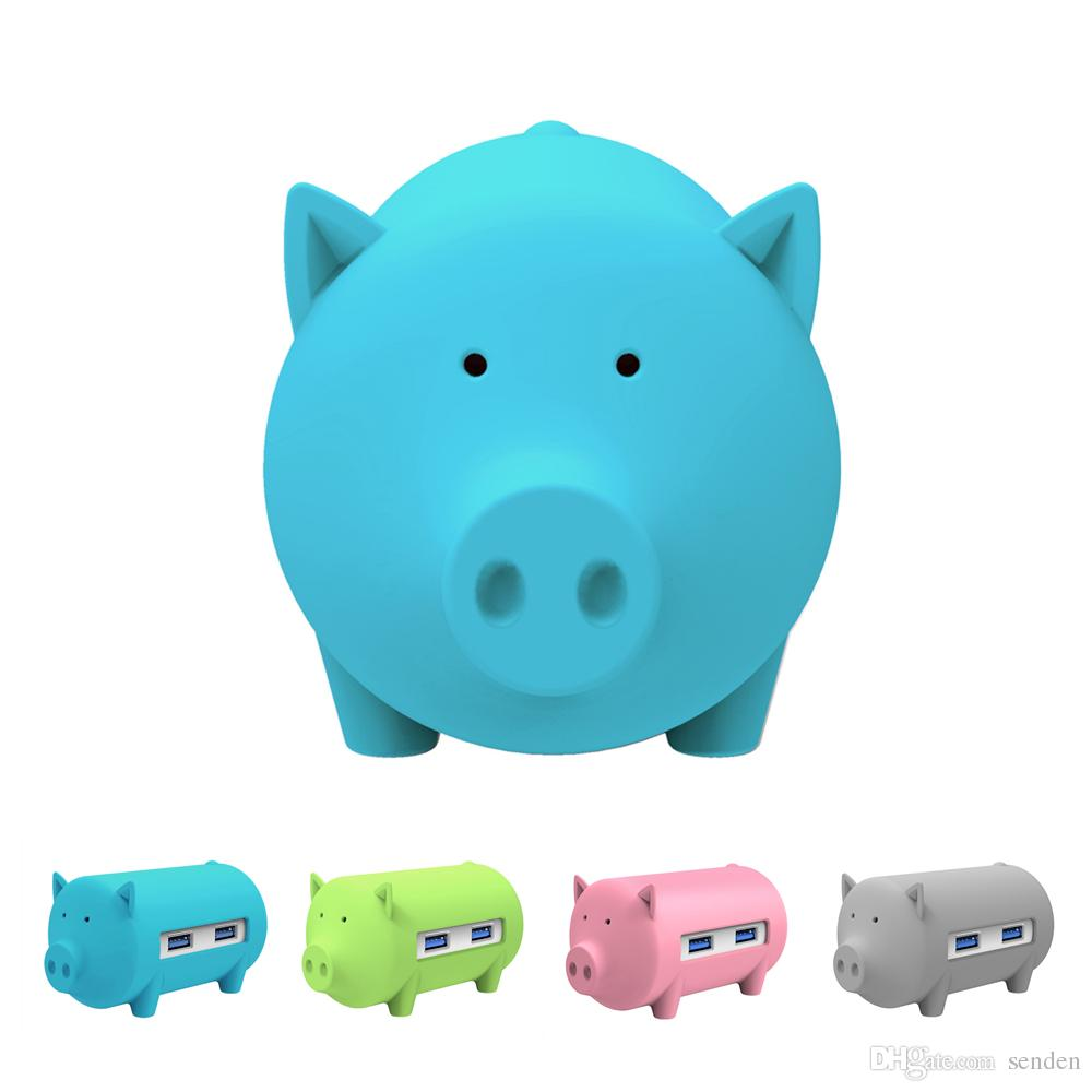 Creative Pig USB Hub with 3 usb Ports,SD/TF Card Reader for MacBook Air Laptop PC Support OTG All in one function Cute piggy HUB Card reader