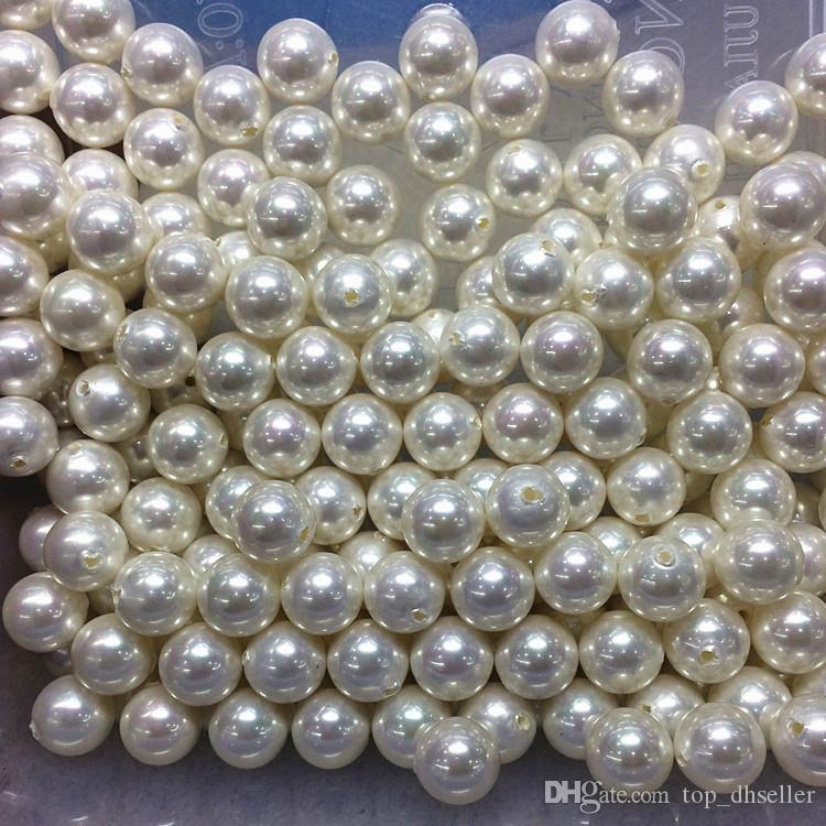 White half hole DIY handmade beaded jewelry accessories material ABS imitation pearls 4-24mm scattered beads Loose pearlD030