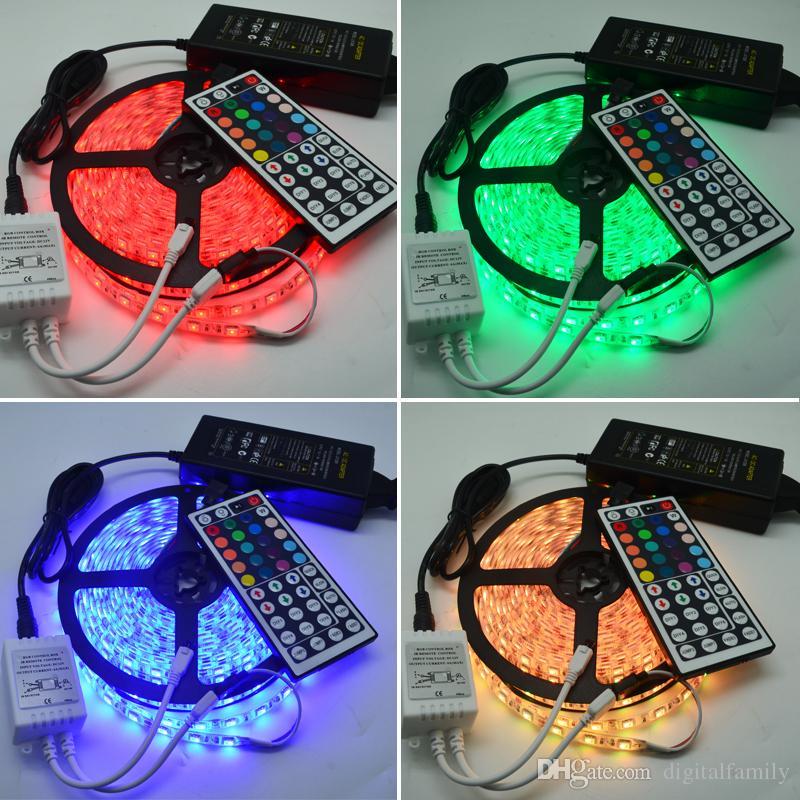 Led-streifen Licht RGB 5 Mt 5050 SMD 300Led Wasserdicht IP65 + 44Key Controller + 5A Netzteil Mit Kleinpaket Weihnachtsgeschenke