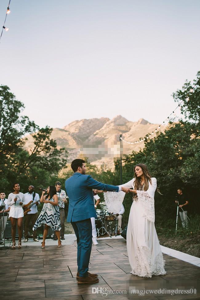 Vintage Uzun Kollu Gelinlik ile Dantel Kat Uzunluk Kılıf Şifon 2016 Ucuz Artı Boyutu Hippi Ülke Düğün Gelin Törenlerinde Backless