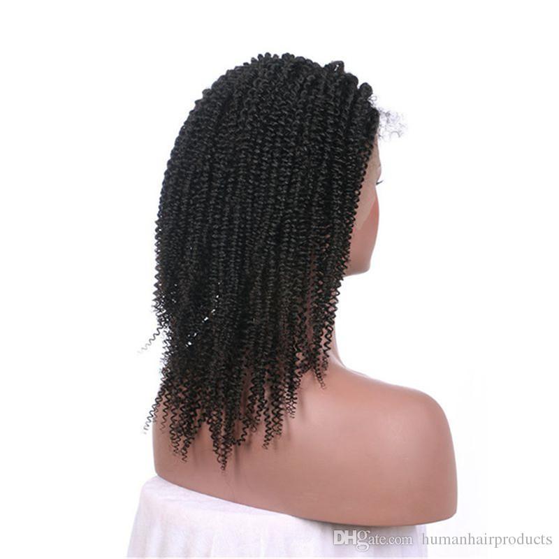 Pre desplumadas pelucas llenas del cordón del pelo de la Virgen con la rayita natural Pelucas peruanas baratas Afro rizadas pelucas del cordón FDSHINE