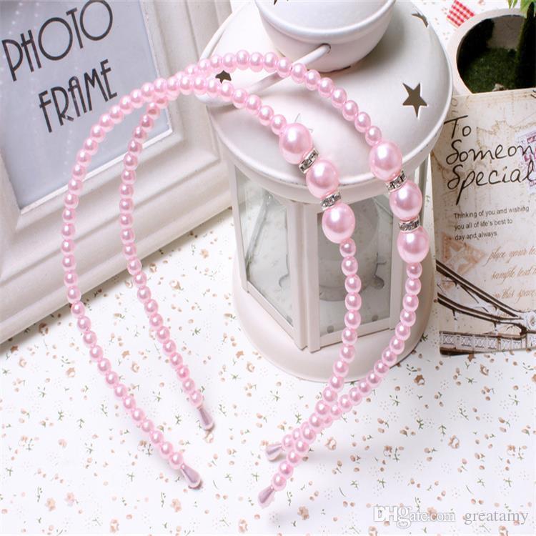 2018 Girls Pearl Hairband Crystal Jewelry Bead Princess Diadema Hair Band Accesorios es diadema para niñas y niños